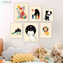 Bunte Kawaii Tiere Freund Bär Hund Katze Poster Drucke Nordic Baby Zimmer Wand Kunst Bilder Wohnkultur Leinwand Malerei Custom