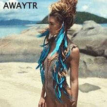 Повязка на голову с перьями AWAYTR, модный головной убор с бусинами ручной работы для девочек, аксессуары для волос высокого качества