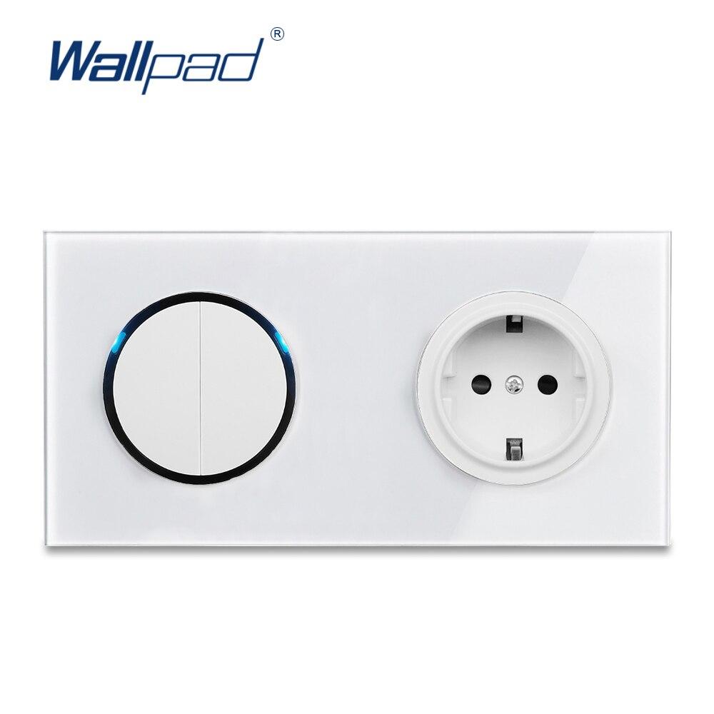 Wallpad L6 белая стеклянная панель светодиодный настенный выключатель 2 Gang с европейской немецкой розеткой Schuko, кнопка случайного клика