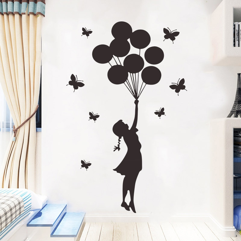 AliExpress - Carved Butterfly balloon girl Wall Sticker for Girl children's rooms decoration Mural home decor  Art Decals wallpaper stickers