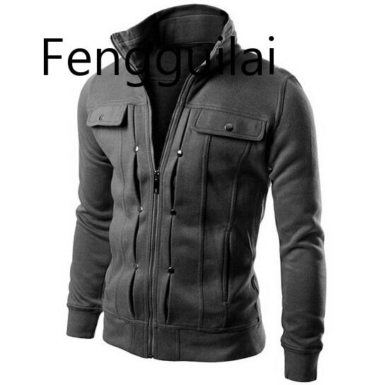Мужские куртки, пальто с заклепками и украшением, с длинным рукавом, однотонные мужские куртки, повседневные корейские приталенные тонкие м...