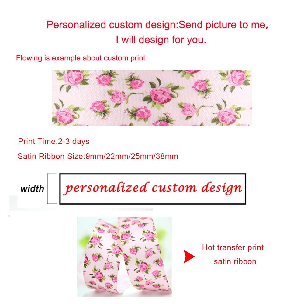 Personalizado tarta macarrón donut impreso satén cinta foe cinta elástica 16mm-75mm 50 yardas boda DIY lazos cintas