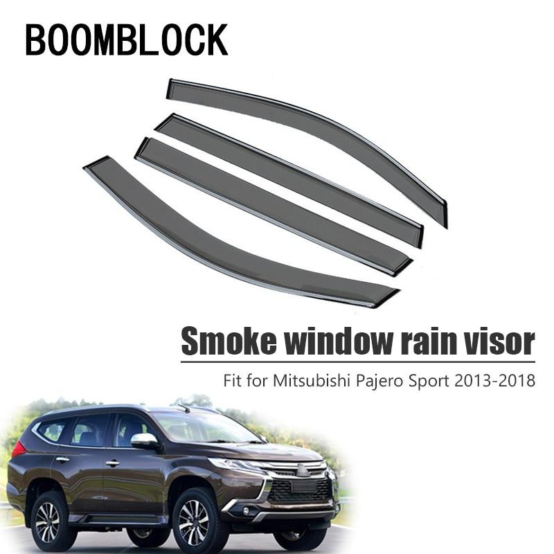 Alta calidad 4 Uds humo ventana visor de lluvia para Mitsubishi Pajero Sport 2018, 2017, 2016, 2015, 2014, 2013 deflectores guardia Accesorios