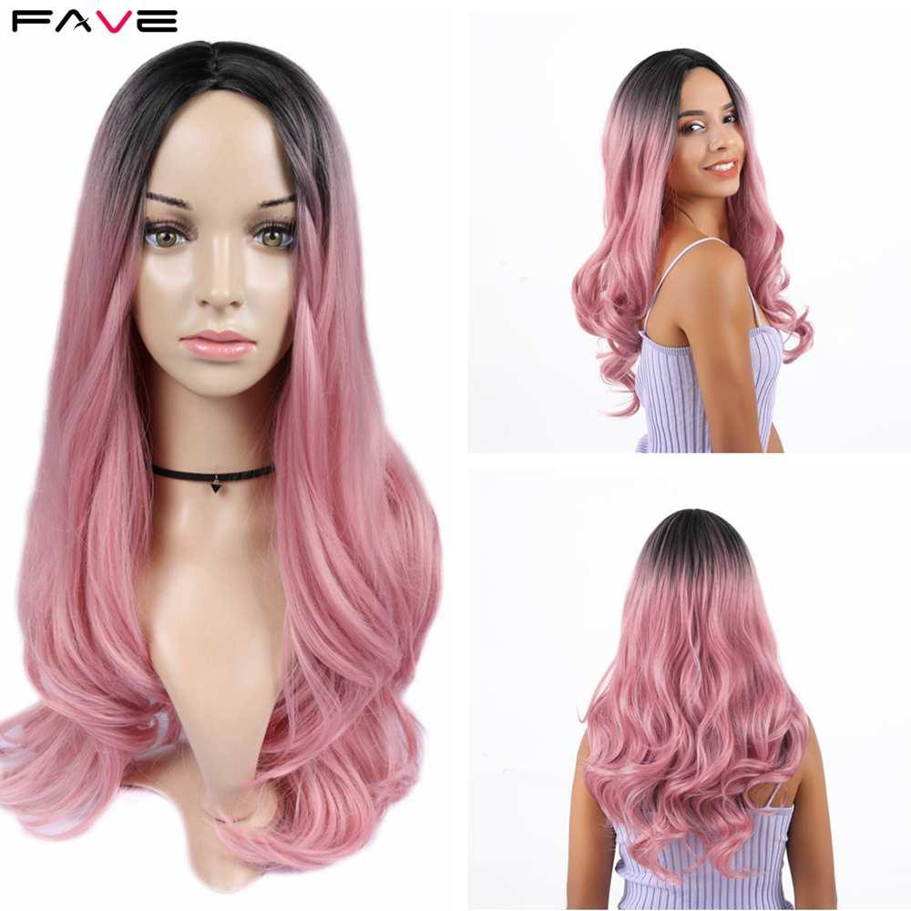 Fave premium longo peruca sintética onda do corpo ombre luz marrom loiro preto rosa ouro cinza parte do meio para preto cosplay feminino