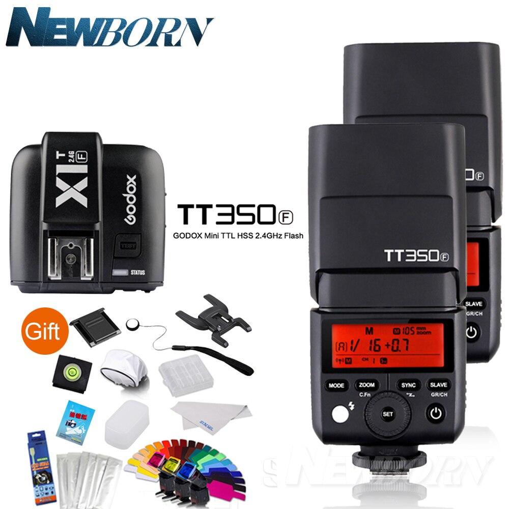 2XGodox FlashSpeedlite TTL TT350F عالية السرعة 1/8000s GN36 2.4G اللاسلكية X نظام + الارسال الزناد X1T-F عدة ل فوجي فوجي فيلم