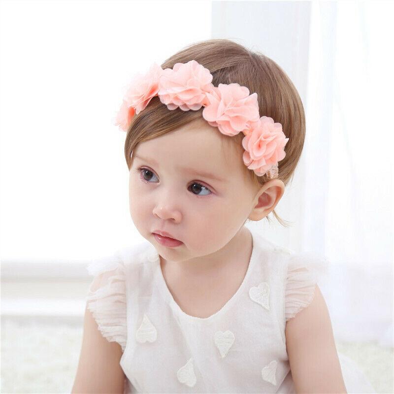 Faixa de cabelo para meninas, acessório para cabeça de flor elástico para cabelo cinza rosa branco