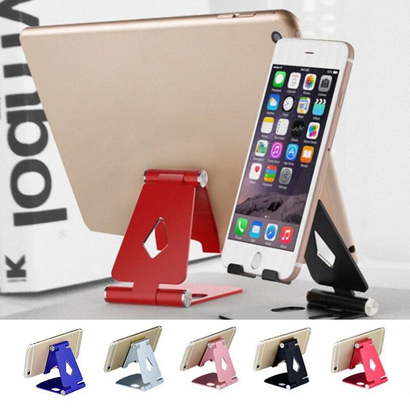 Doble plegado teléfono móvil soporte de escritorio plano aleación de aluminio perezoso Metal escritorio en vivo soporte de teléfono móvil