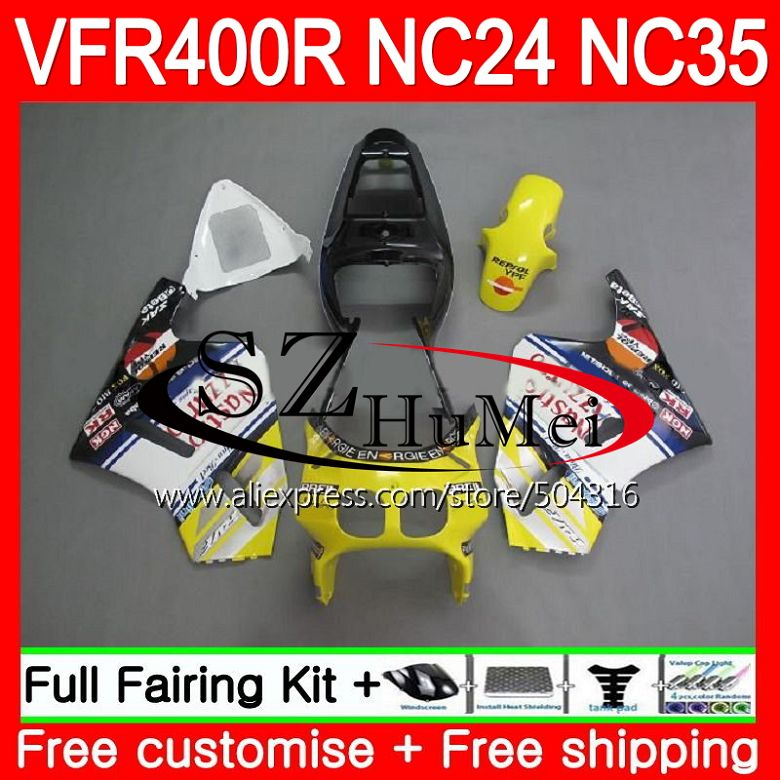 RVF400R Para HONDA VFR400 R RR NC24 Amarelo branco VFR400R 87 88 94 95 96 125SH. 7 NC35 V4 400R VFR 1987 1988 1994 1995 1996 Carenagem