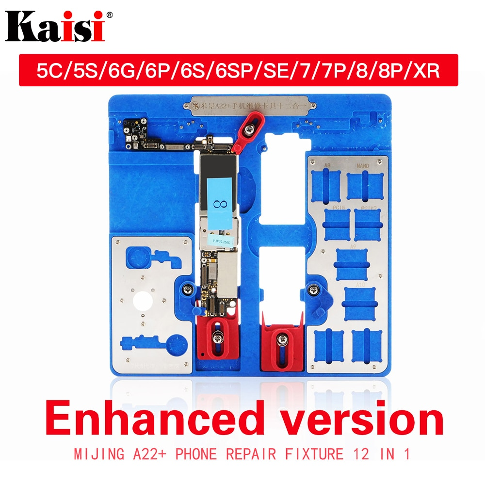 12 in 1 PCB Holder Repair Tool for iPhone 5C 5S 6G 6S 6P 6SP SE 7G 7P 8G 8P XR BGA Fixture Holder Logic Board Clamps 10pcs 1608a1 1610a1 1610a2 1610a3 610a3b 1612a1 for iphone 5g 5s 5c 6 6p 6s 6splus 7g 7p 8 8p x u2 charger ic usb charging chip