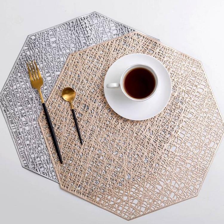 6/4 pçs pvc recorte hangable placemats octogonal oco antiderrapante mesa de jantar esteiras coaster casa conjunto de decoração de mesa placemat