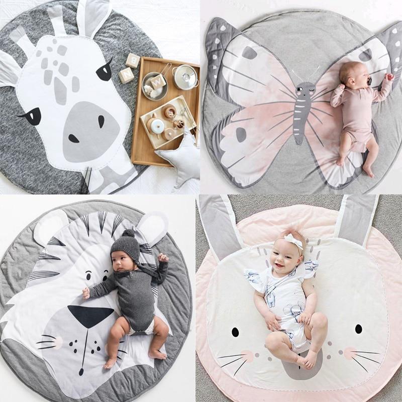 Animales de dibujos animados, Alfombra de juegos para bebés, manta plegable para gatear para niños, alfombra redonda, alfombra, juguetes, accesorios de foto de decoración para habitación de Niños de algodón