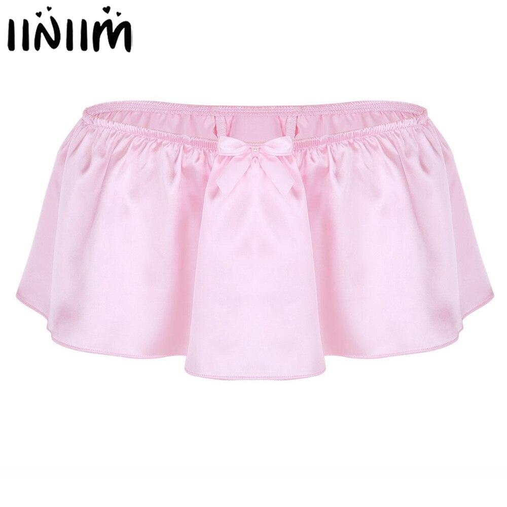 Iiniim para hombres Mini falda bragas Sissy Sexy Lencería suave brillante satén falda Tanga traje de hombre Ropa interior Calzoncillos