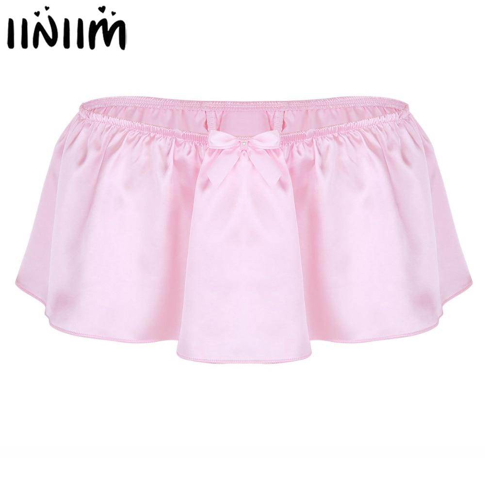 iiniim Mens Mini Skirt Sissy Panties Sexy Lingerie Soft Shiny Satin Skirted Thong String Homme Costumes Underwear Underpants
