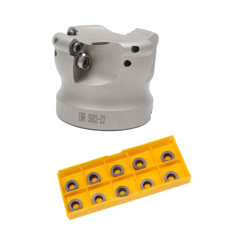 Novo 1 conjunto emr5r 50-22-4t/emr5r 63-22-4t e 10 pces rpmw1003 inserção rosto moinho fresa cnc ferramentas para inserções redondas