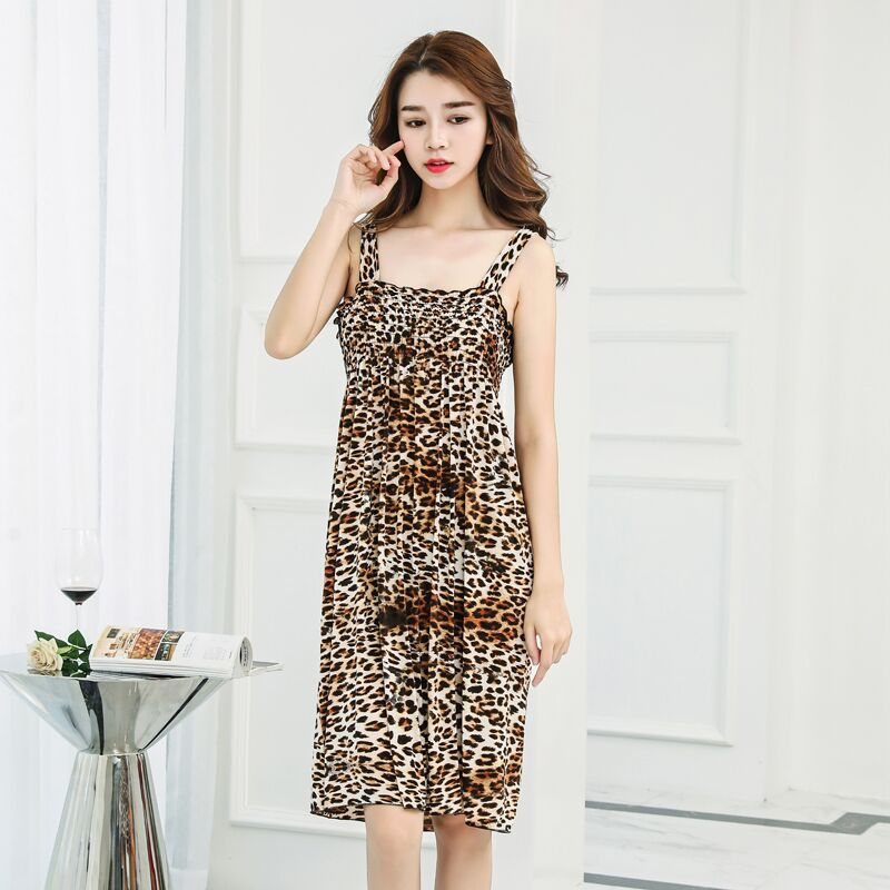 Sling skirt was thin ice silk folds loose nightdress fresh wide shoulder strap beach skirt sexy Slim beauty back home service enlarge