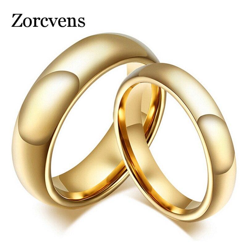 Модные кольца ZORCVENS из 100% чистого вольфрама 4 мм/6 мм, обручальные кольца золотого цвета для женщин и мужчин, ювелирные изделия
