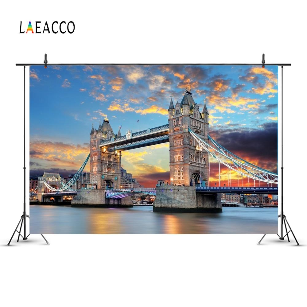 Laeacco London Tower Sea Bridge Evening Scenery  Photo Backgrounds Customized Photography Backdrops For Photo Studio enlarge