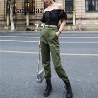 laipelar high waist camo black pants joggers women capris chain cargo pants trousers women camouflage korean fashion