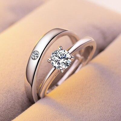 1 Juego de anillos de compromiso de circonio ajustables para mujer, anillos de boda de Color plateado, joyería de Cristales austriacos T1