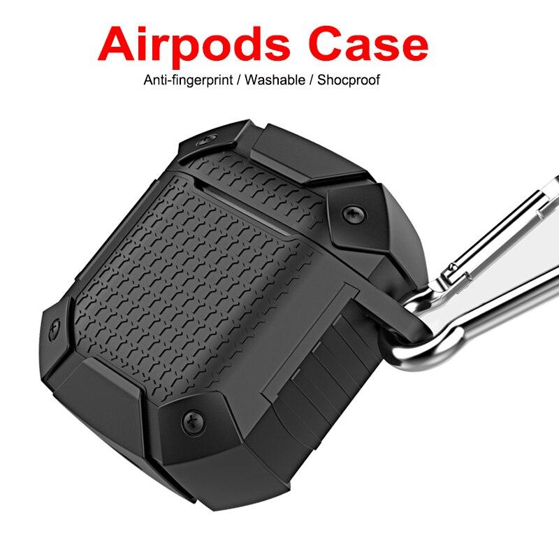 Bolsa de silicona para auriculares, accesorios para cajas de carga para Airpods, carcasa para auriculares inalámbricos Bluetooth Armor para Airpods con gancho de soporte