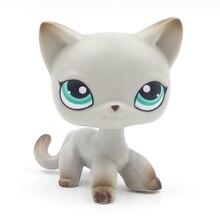 Rare pet shop cute toys standing #391 little grey short hair cat kitten with green eyes old original toys for children