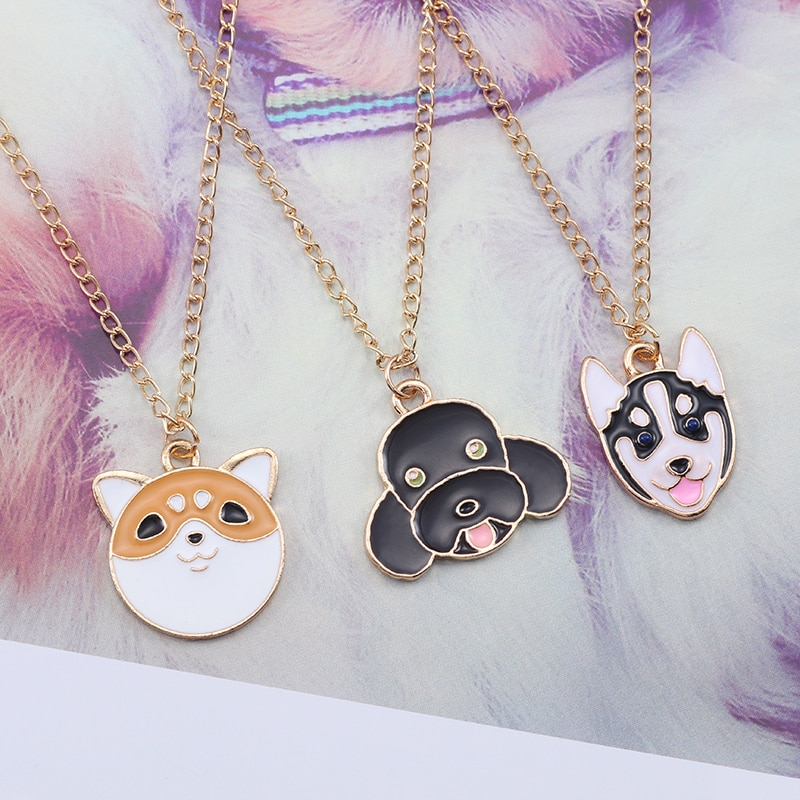 Cartoon Pet Dog Necklace For Women Japanese Akita Siberian Husky Teddy Bear Dog Necklaces Pendants Animal Jewelry Collier Femme