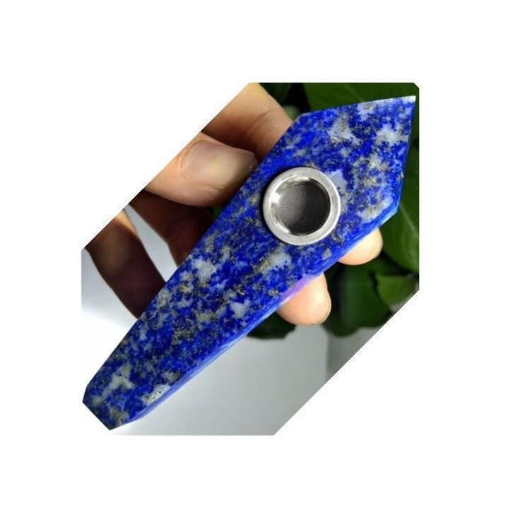 TopNatural lapislázuli cuarzo cristal fumar pipa curativa agujero