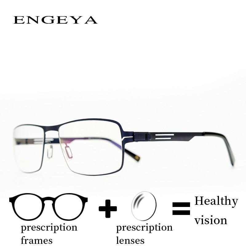 Metal Prescription Glasses Men Square Retro Clear Corrective Aspheric Polarized Eyeglasses Oversized