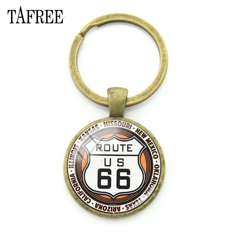 Llaveros TAFREE Ruta 66 de EUA de ruta, llaveros de moda a la moda, llaveros, llaveros, colgante de Metal para llaves de coche, joyería mejor amiga UR08