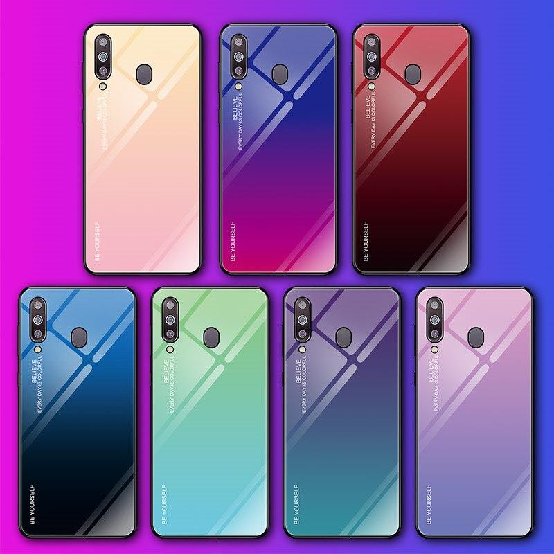Funda de vidrio templado para Samsung Galaxy S8 S9 S10 más S10e A50 A30 70 A7 J6 A8 2018 Nota 8 9 M30 M20 Aurora colorido