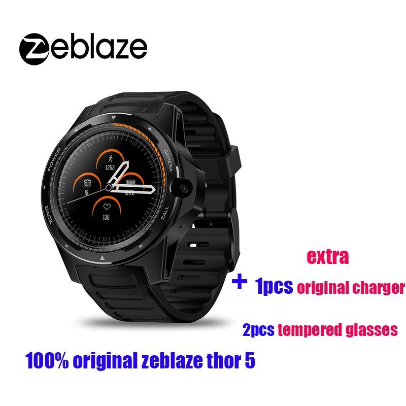 Nuevo reloj Zeblaze THOR 5 4G LTE teléfono inteligente hombre 16G WIFI GPS Cámara ritmo cardíaco reloj inteligente con cargador adicional gafas templadas