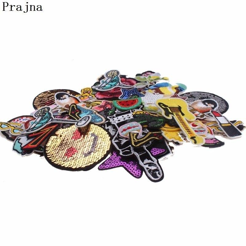 Prajna, parche barato al azar, parches bordados mezclados, parches de hierro en parches, bonitos apliques de dibujos animados para decoración de ropa, lavable, 30 piezas