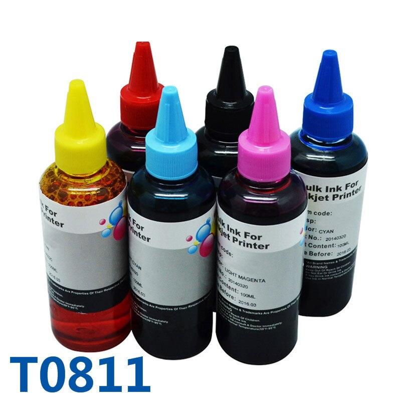 600ml T0811 Drucker Tinte Für Epson Refill Tinte Für Drucker Für Epson Stylus Foto R390/RX590/R270 /RX690/RX610/RX615/R290/R295/1410