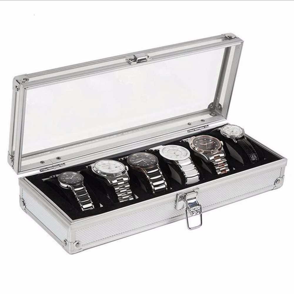 AOTU glossy 6 Grid Insert sloty zegarki z biżuterią do prezentowania, przechowywania biżuterii, zegarków Box Case Aluminium Watch Box biżuteria dekoracyjna organizer