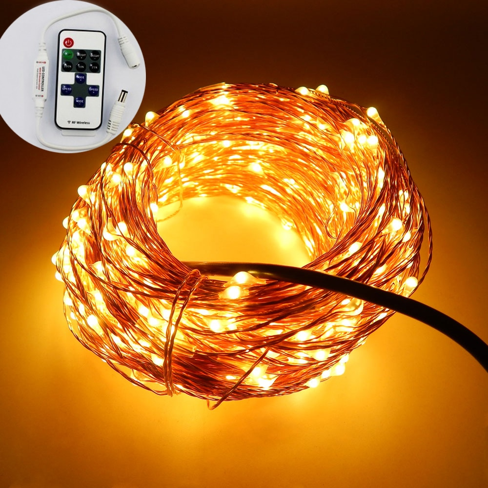 99Ft/30m 300 Leds cable de cobre Led cadena al aire libre Navidad hadas luces Adaptador + regulador remoto adornos navideños para el hogar