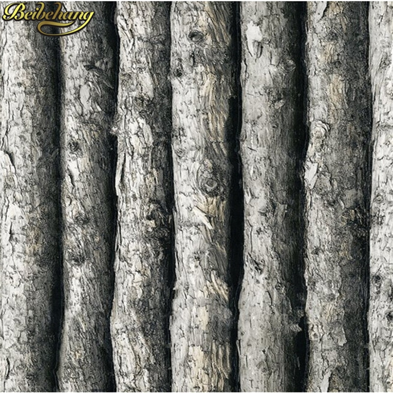 Papel pintado de vinilo de madera de beibehang 3D bosque grueso en relieve rollo de papel de pared de árbol decoración del hogar tapete para papel de pared de fondo peint