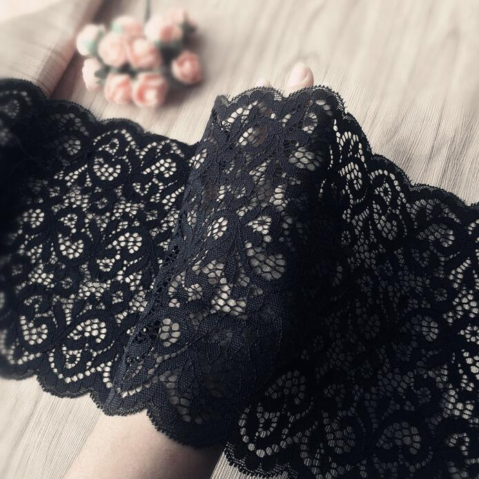 1 Meter Beautiful Black Lace Mesh Fabric 18cm Width Elastic Lace Trim Applique Free Shipping