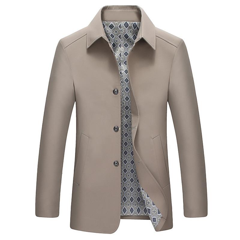 معطف رجالي جديد لربيع وخريف 2020 طويل وألوان ثابتة موضة ملابس الشارع معطف رجالي كاجول للمطر