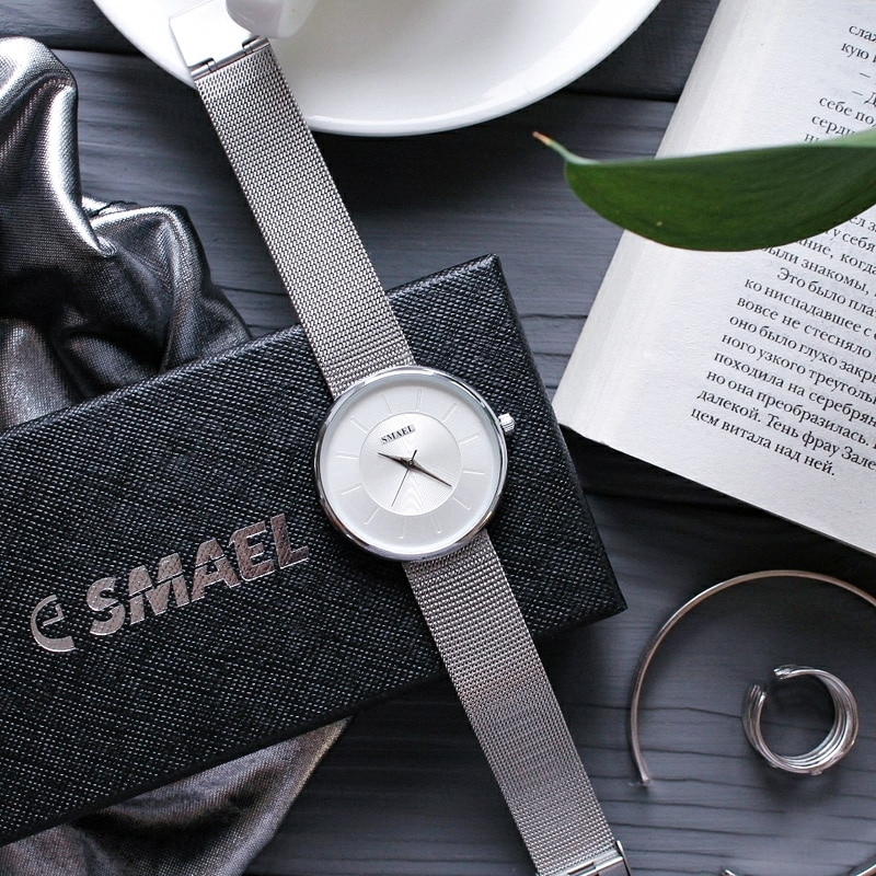 SMAEL Watch for Women Dress Stainless Steel Band Analog Quartz Wristwatch Fashion Luxury Ladies Gold Watch Simple Clock Analog enlarge