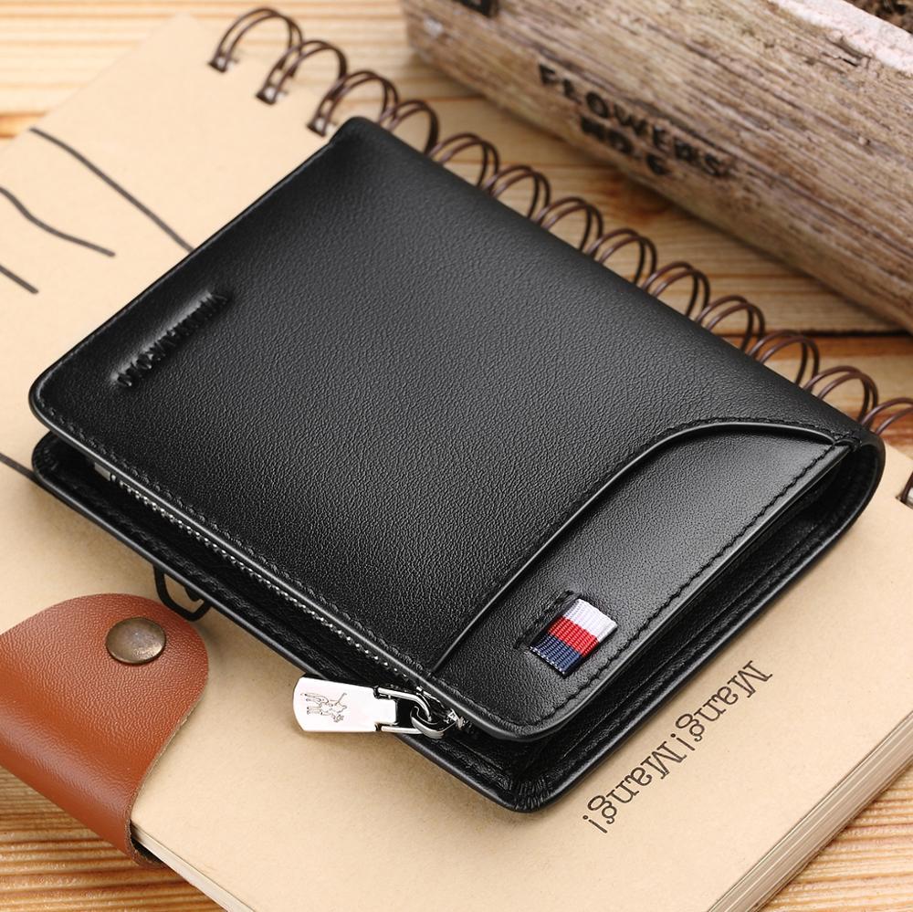 WilliamPOLO hommes portefeuille court porte-carte de crédit en cuir véritable Multi carte Case organisateur sac à main avec fermeture éclair poche Portable