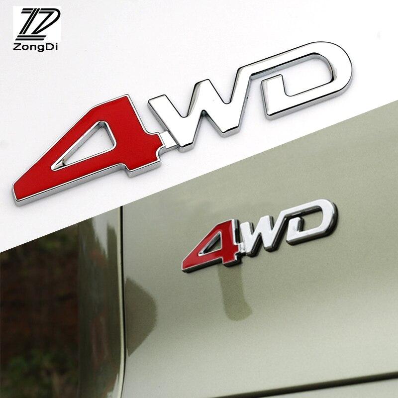 ZD 1Pc del coche 3D de Metal 4WD 4X4 para Skoda Octavia Fabia Suzuki grand vitara Volvo s60 xc60 Hyundai i30 solaris Accesorios