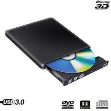 Blu-Ray Drive Slim USB 3.0 Bluray Burner BD-RE CD/DVD RW Writer Play 3D 4K Blu-ray Disc for Laptop Notebook Netbook