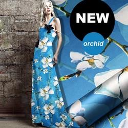 118 cm de largura 19mm 93% silk & 7% spandex impressão orquídea branca azul trecho tecido de cetim de seda para camisa de vestido de roupas cheongsam D653
