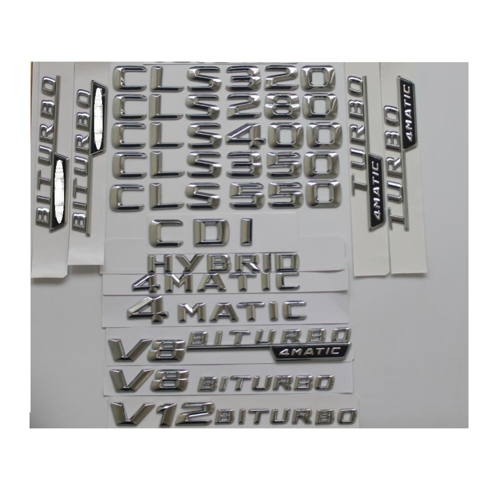 Cromo Tronco Letras Emblemas emblemas para Mercedes Benz CLS220 CLS250 CLS300 CLS350 CLS400 CLS450 CLS500 CLS550 CDI V8 4MATIC