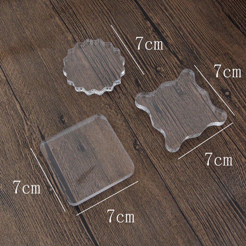 1 pcs 7 cm x 7 cm New transparent acrylic plate diy stamps handle, Handmade Scrapbook Photo Album Decor Stamps accessories tools