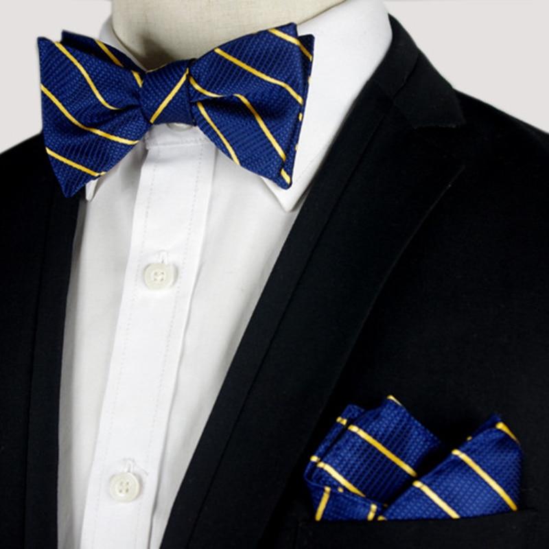 wedding self tie bow ties for men bowtie pocket square gift set black недорого