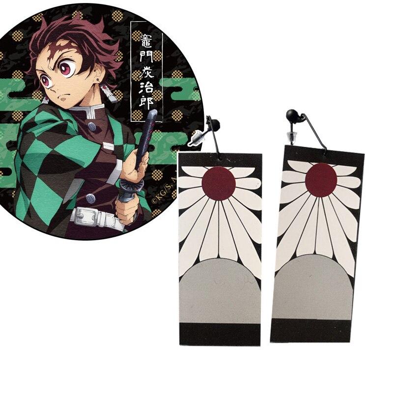 Atacado demônio slayer cosplay prop kimetsu não yaiba tanjirou kamado brincos anime cosplay accessores 1 par