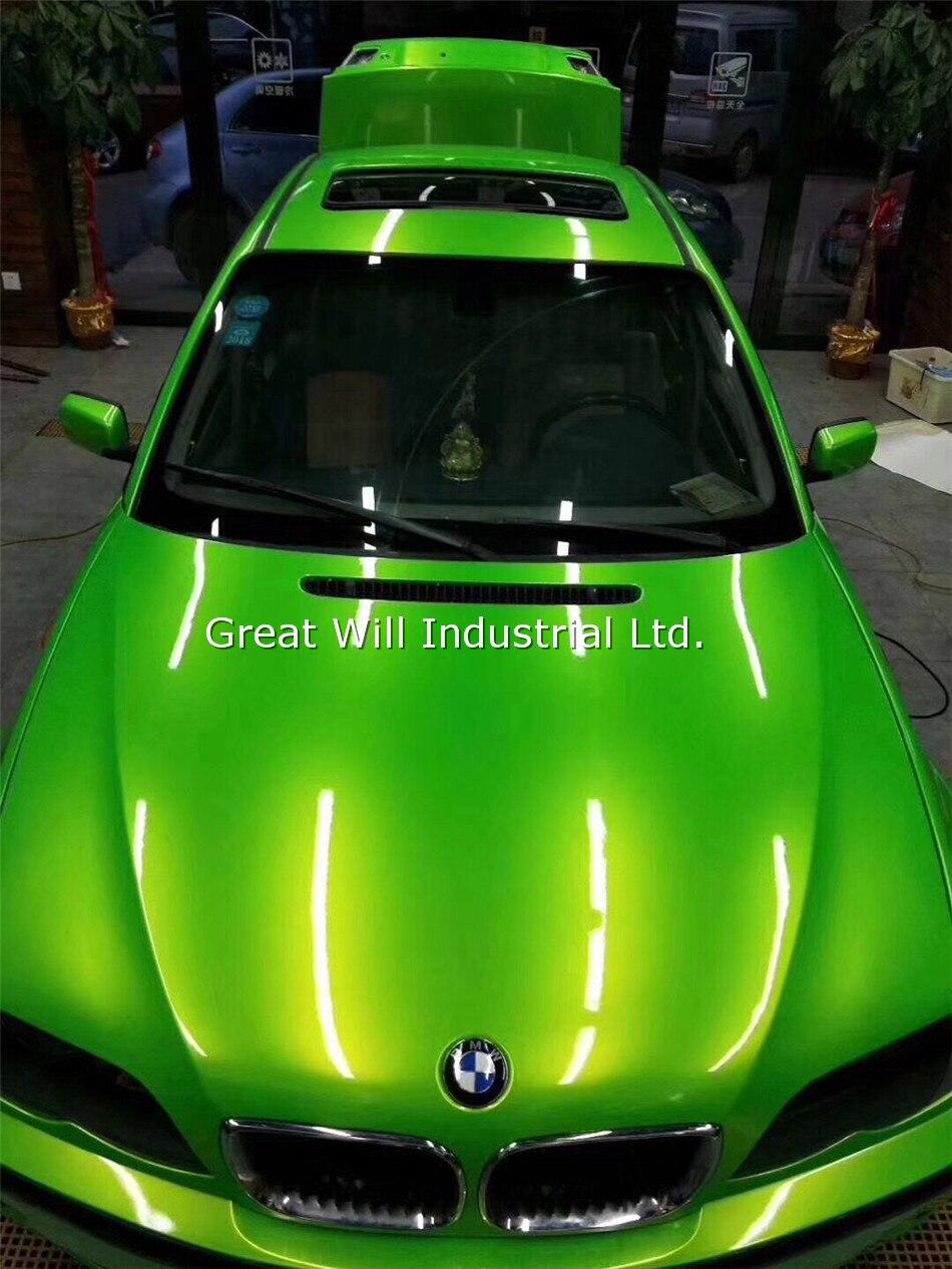 Película de revestimiento de vinilo verde manzana dorada Color mágico brillante con burbujas de aire libre revestimiento para coche adhesivo mágico brillante 1,52*18M/rollo