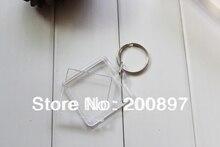 Hot promotion DIY acrylic blank photo keychain square shape side 3.3cm  key chain 100pcs/lot