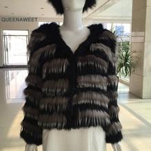 Manteau en fourrure de lapin femme, vêtement dextérieur en véritable fourrure de lapin pour femme jacke